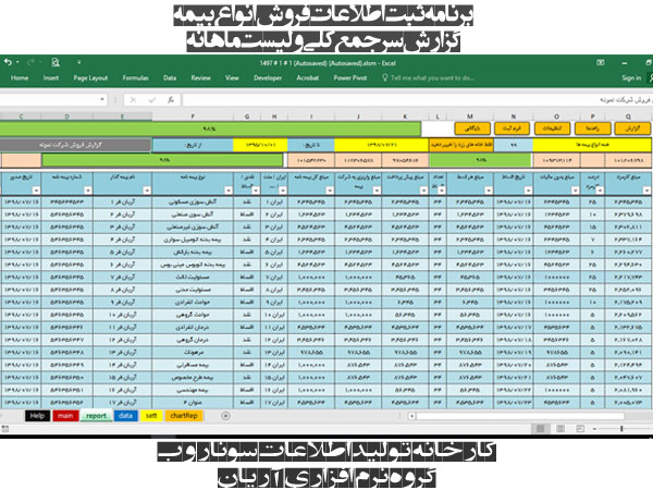 نرم افزار مدیریت انواع نمایندگی بیمه، مدیریت کارگزاری ها و دفاتر بیمه - تحت اکسل