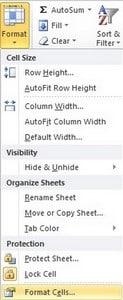 Format cell دارای ششtab مجزا می باشد که می توان آن را از منوی home و گزینه Format انتخاب نمود.