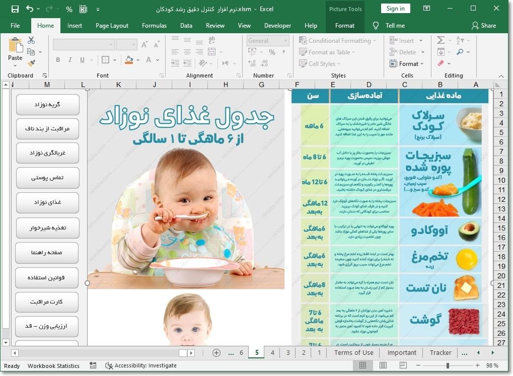 نرم افزار کنترل رشد کودکان کارت مراقبت کودک + تغذیه و پایش رشد